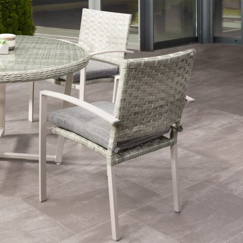 CorLiving Parkview Blended Grey Patio Dining Chairs with Cushions (Set of 4)