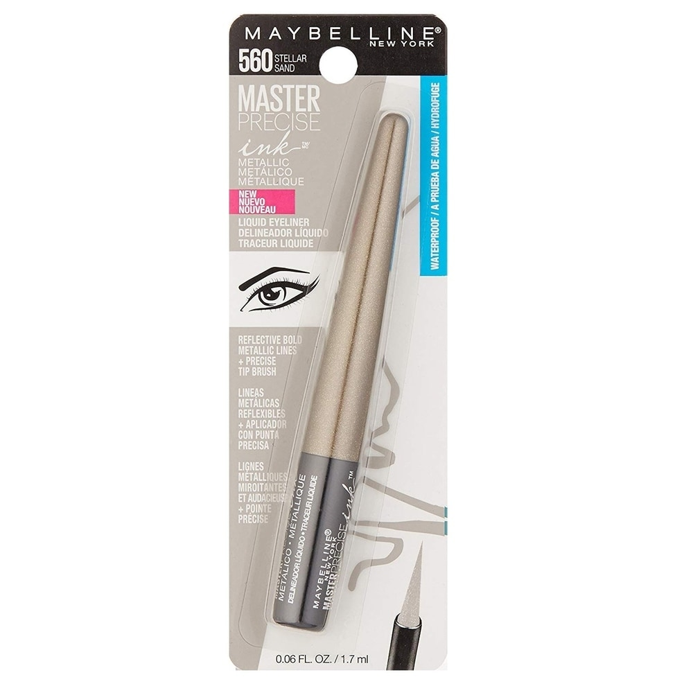 Maybelline Master Precise Ink Metallic Liquid Eyeliner #560 Stellar Sand (1 Pack)