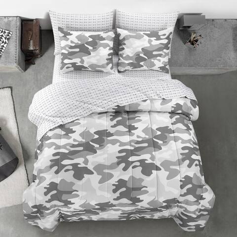 Porch & Den Stalder Grey Camoflauge Bedding Set