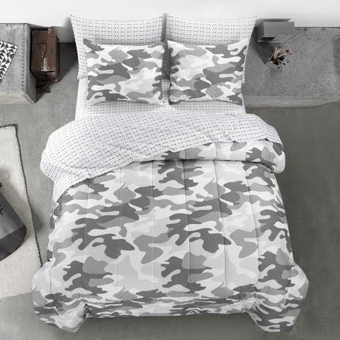 Porch & Den Stalder Grey Camoflauge Bedding Set