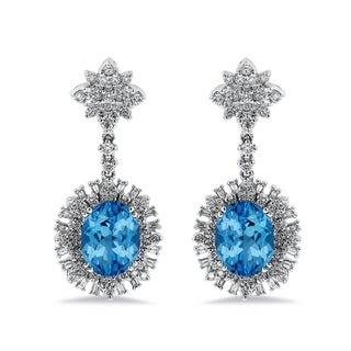 Auriya 6 3/8ct Fancy Oval-cut Topaz Halo Diamond Drop Earrings 1 3/4ctw 18k Gold