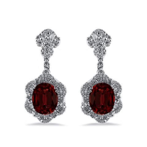 Auriya Fancy 5 5/8ct Oval-cut Garnet Gemstone and 1 7/8ctw Diamond Drop Earrings 18K Gold