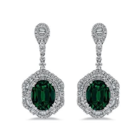 Auriya 4 9/10ct Fancy Oval-cut Emerald Halo Diamond Drop Earrings 3 1/8ctw 18k Gold