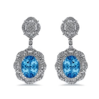 Auriya 6 3/8ct Fancy Oval-cut Topaz Halo Diamond Drop Earrings 2 5/8ctw 18k Gold