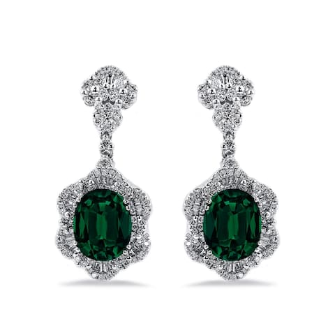 Auriya Fancy 4 9/10ct Oval-cut Emerald Gemstone and 1 7/8ctw Diamond Drop Earrings 18K Gold