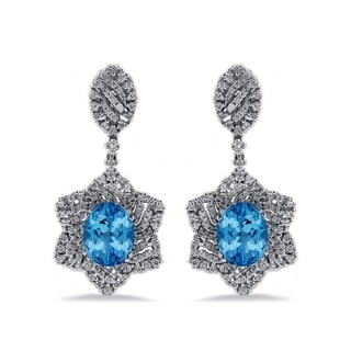 Auriya 6 3/8ct Fancy Oval-cut Topaz Halo Diamond Drop Earrings 1 1/4ctw 18k Gold