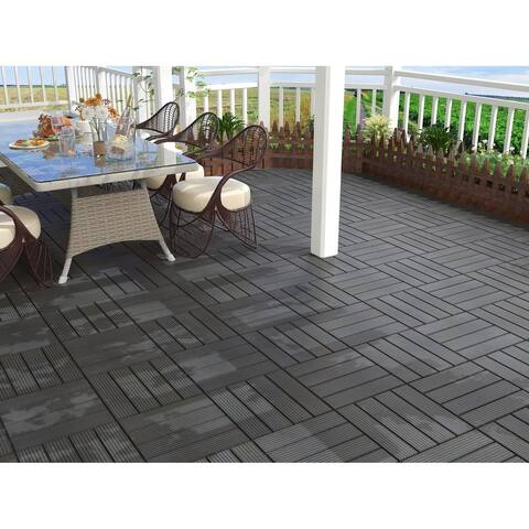 Espresso Finish Bamboo Composite Deck Tile (11 Sq. Ft/Carton)