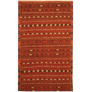 Handmade One-of-a-Kind Wool Kilim (Afghanistan) - 3'9 x 6'2