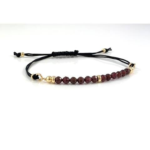 Handmade Capricorn Birthstone Garnet Gem Bar Adjustable Black Cord Bracelet 7.5 Rebecca Cherry