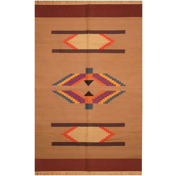 Handmade One-of-a-Kind Wool Kilim (India) - 4' x 6'