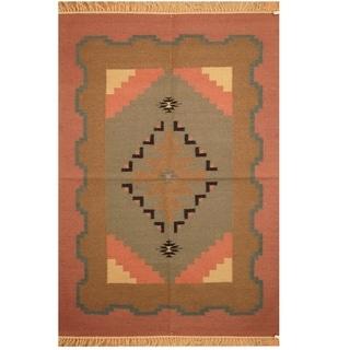 Handmade One-of-a-Kind Wool Kilim (India) - 4'2 x 6'1
