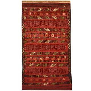 Handmade One-of-a-Kind Wool Kilim (Afghanistan) - 3'3 x 6'