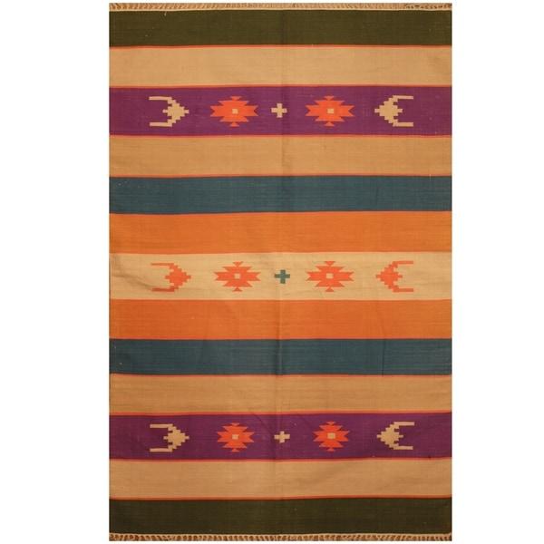 Handmade Wool Kilim (India) - 3'10 x 6'