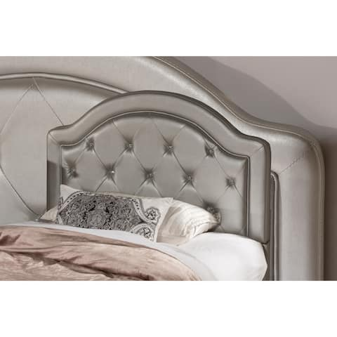 Karley Silver Faux Leather Bed Frame Not Included Headboard
