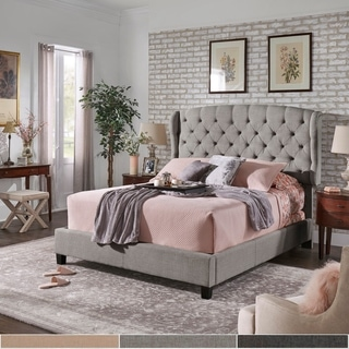 Copper Grove Kalynivka Adjustable Tufted Wingback Bed