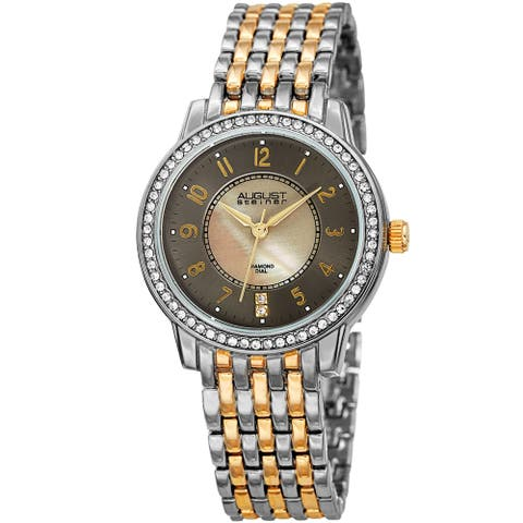 August Steiner Diamond Mother of Pearl Crystal Two-tone Bracelet Watch - Two Tone-Gunmetal - Two Tone-Gunmetal