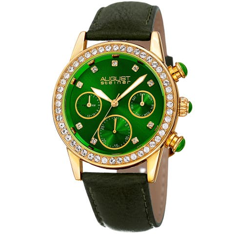 August Steiner Women's Multifunction Dual Time Swarovski Crystal Gold-Tone/ Green Leather Strap
