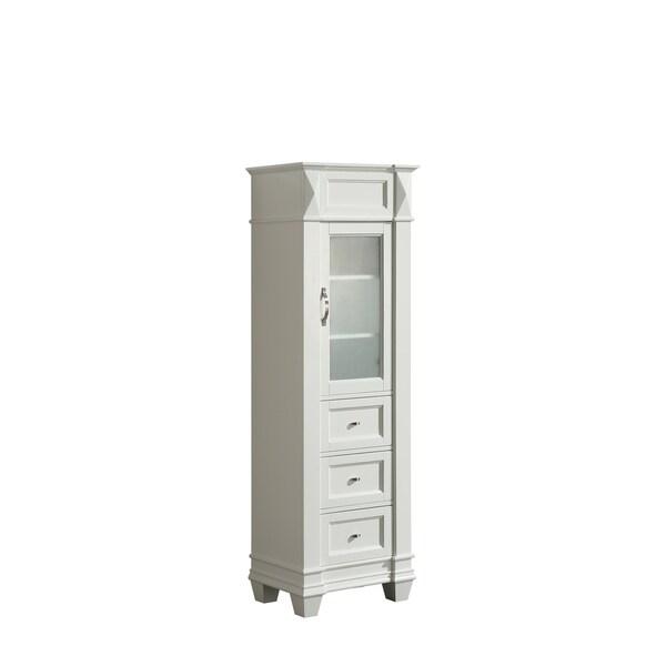 Design Element Hudson White Wood Linen Cabinet