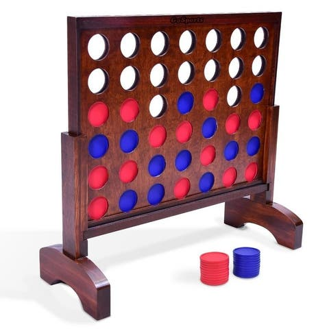 GoSports Giant Dark Wood Stain 4 in a Row Backyard Game  2 Foot Width  With Connect Coins, Portable Case and Rules