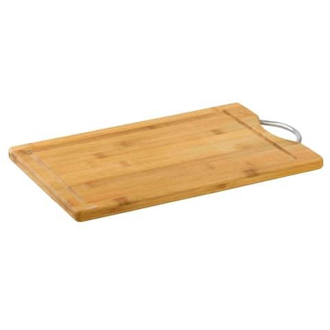 """10"""" x 15"""" Bamboo Cutting Board with Juice Groove and Stainless Steel Handle"""