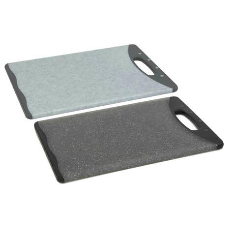 "Double Sided 10"" x 14.5"" Granite Plastic Cutting Board, Grey"