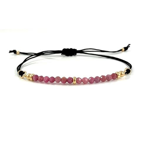 Handmade Libra Birthstone Tourmaline Gem Bar Adjustable Black Cord Bracelet 7.5 Rebecca Cherry