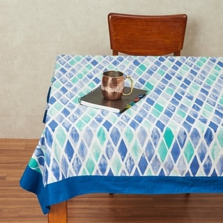 In-Sattva Home 100% Cotton Boho Mosaic Diamond Tile Print Washable Rectangular Table Cover Cloth (Blue - Square - 60 Inches)