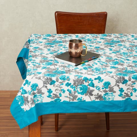 In-Sattva Home 100% Cotton Serene Spring Print Washable Rectangular Table Cover Cloth