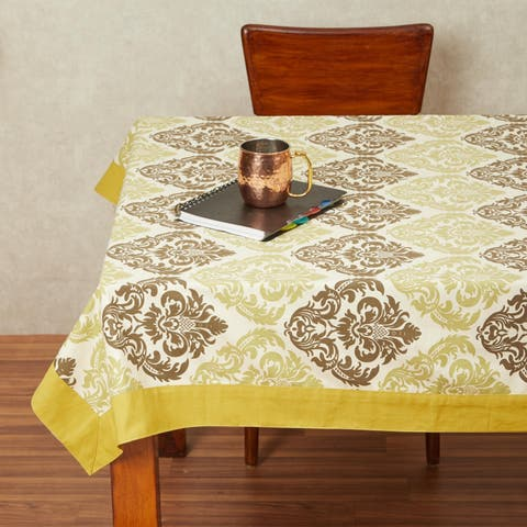 In-Sattva Home 100% Cotton Contrast Brocade Print Washable Rectangular Table Cover Cloth