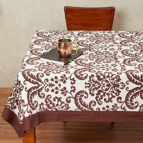 In-Sattva Home 100% Cotton Signature Boho Indian Print Washable Rectangular Table Cover Cloth