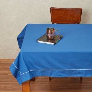 In-Sattva Home 100% Cotton Solid Color Soft Feel Washable Rectangular Table Cover Cloth (60 Inches - Blue)