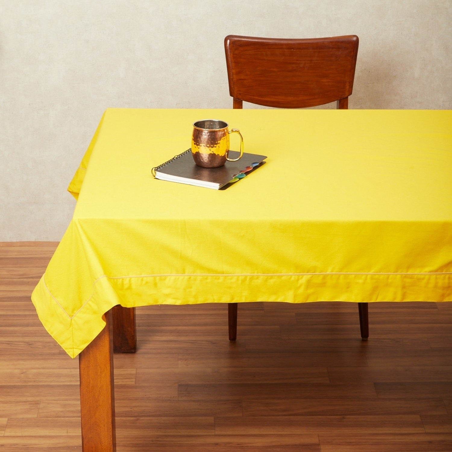 In-Sattva Home 100% Cotton Solid Color Soft Feel Washable Rectangular Table Cover Cloth (24 Inches - Mustard)