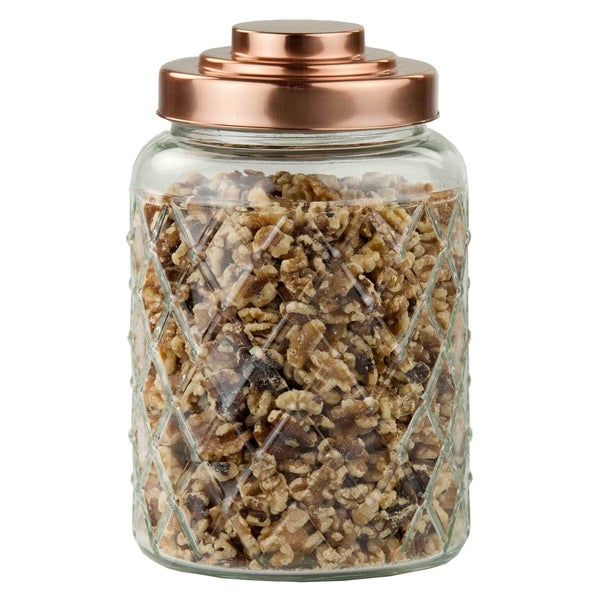 Medium Textured Glass Jar with Gleaming Air-Tight Copper Top
