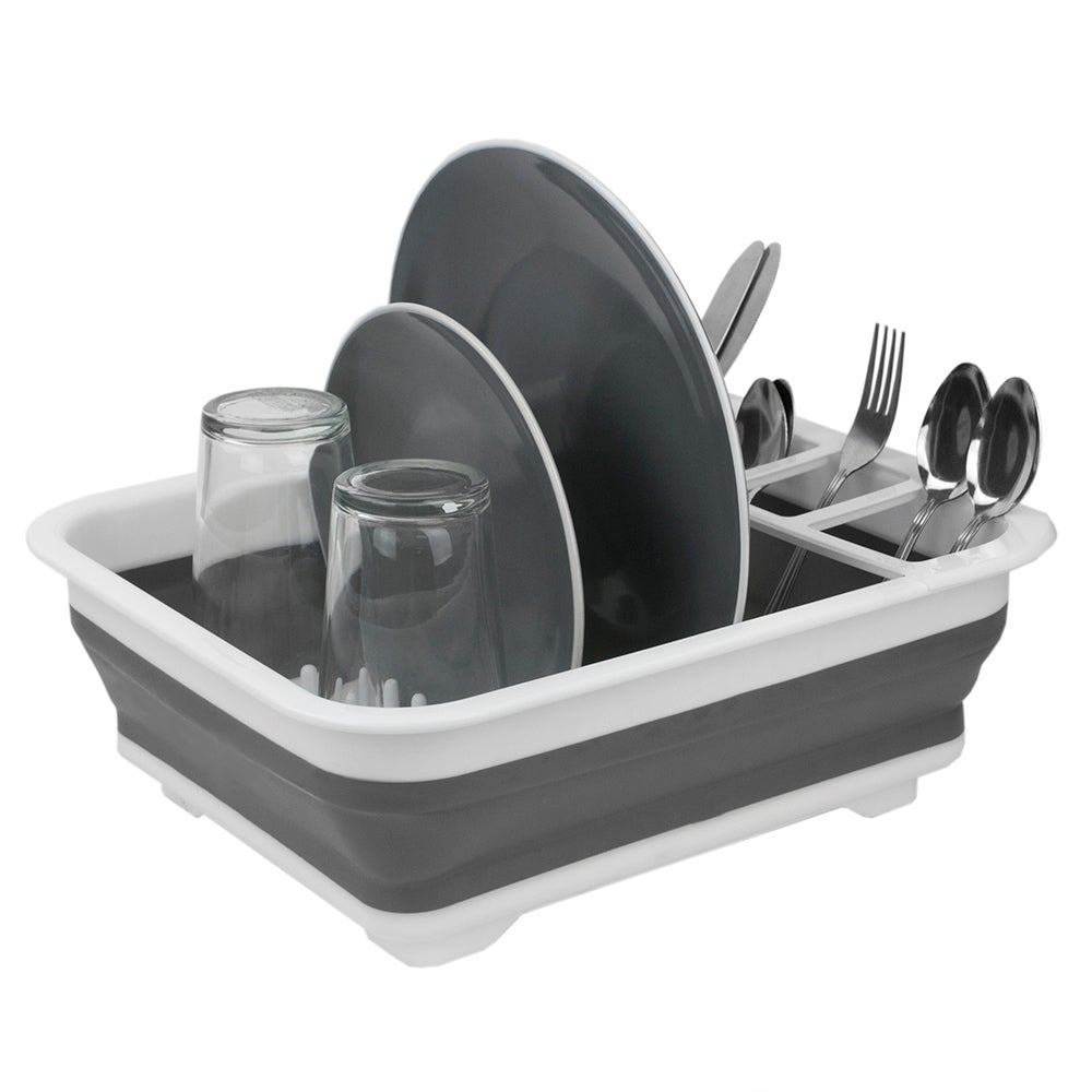 Collapsible Silicone and Plastic Dish Rack, White/Grey