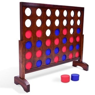 GoSports Giant Dark Wood Stain 4 in a Row Backyard Game – 3 Foot Width – With Connect Coins, Portable Case and Rules