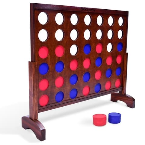 GoSports Giant Dark Wood Stain 4 in a Row Backyard Game  3 Foot Width  With Connect Coins, Portable Case and Rules