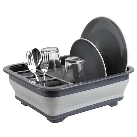 Silicone and Plastic Easy Storage Collapsible Dish Rack,Grey