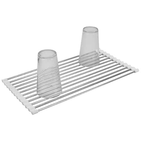 Multi-Purpose Flexible Silicone and Stainless Steel Roll Up Dish Drying Rack, White