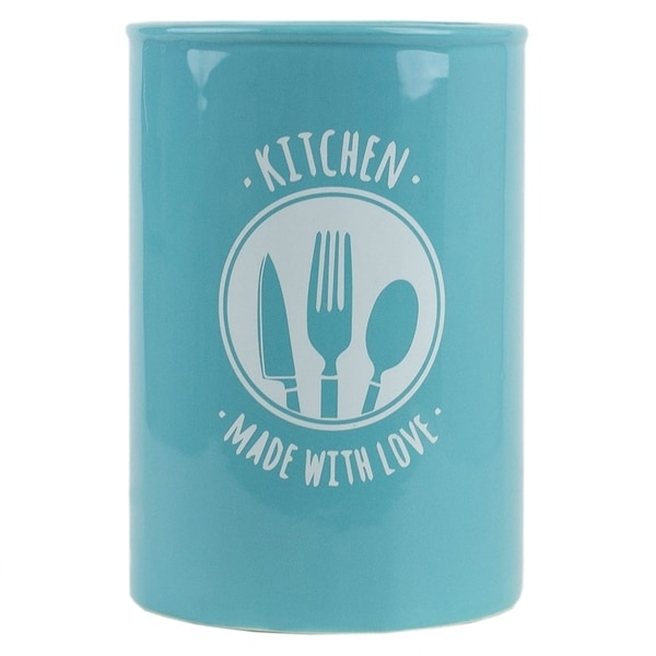 Shop Made With Love Ceramic Utensil Crock Turquoise