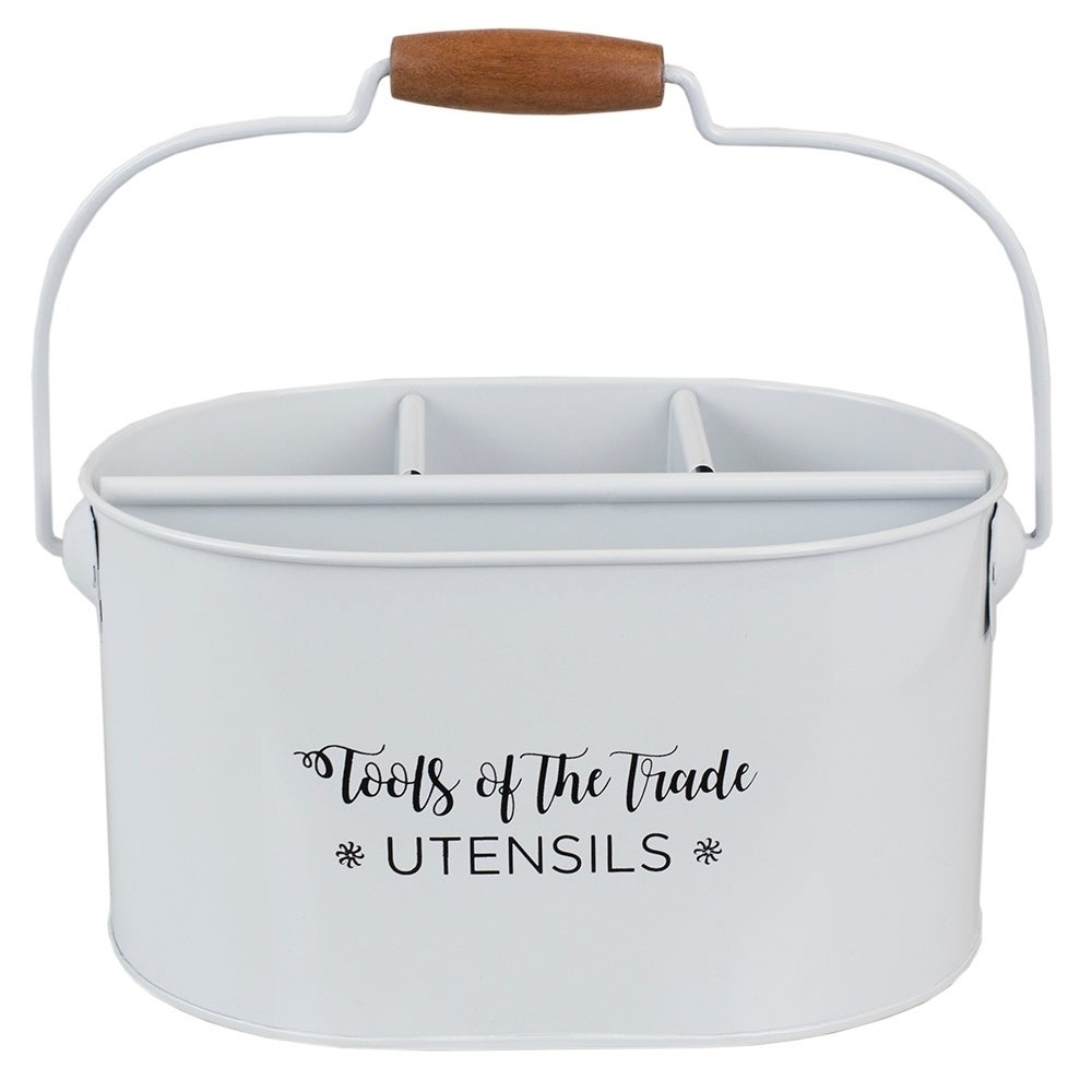 Cuisine Collection Tin Utensil Holder with Wood Handle, White
