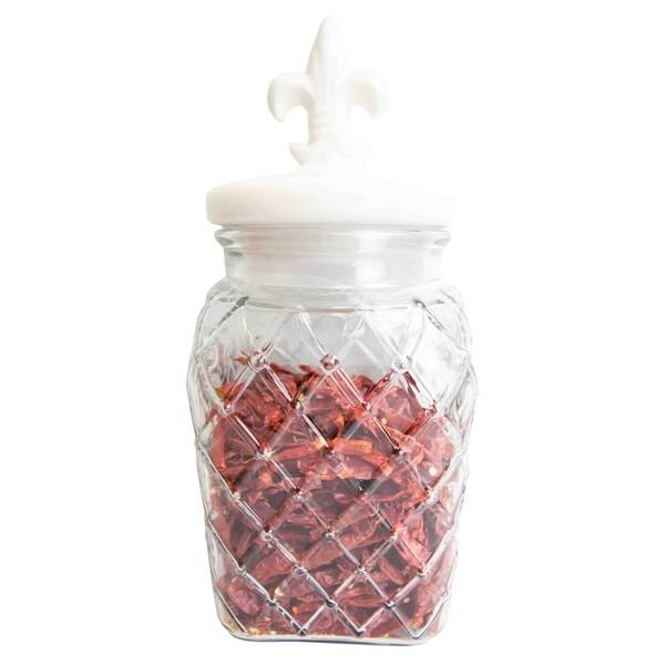 108 oz. Glass Jar with Ceramic Fleur De Lis Top, White