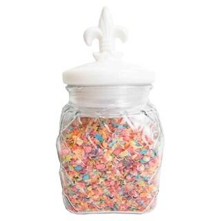 81 oz. Glass Jar with Ceramic Fleur De Lis Top, White
