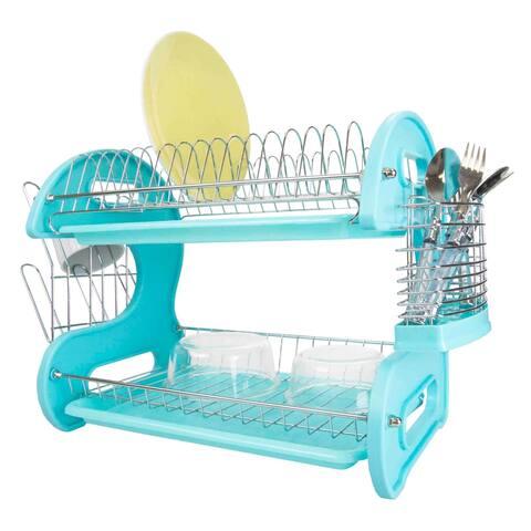 2 Tier Plastic Dish Drainer, Turquoise