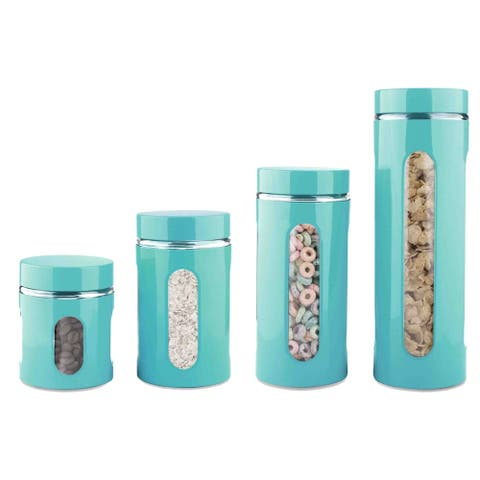 4 Piece Essence Collection Stainless Steel Canister Set, Turquoise