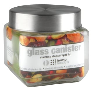 Glass Square Canister with Steel Lid