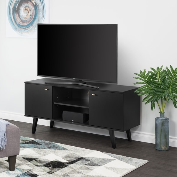 """Milo Mid Century Modern 56-Inch TV Console - 56"""" W x 25"""" H x 16"""" D. Opens flyout."""