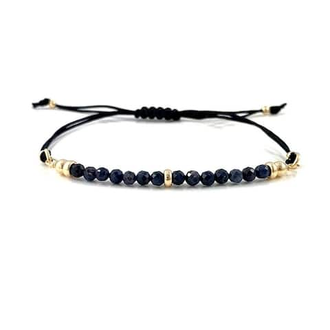 Handmade Virgo Birthstone Sapphire Gem Bar Adjustable Black Cord Bracelet 7.5 Rebecca Cherry