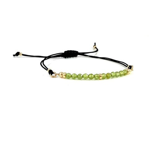 Handmade Leo Birthstone Peridot Gem Bar Adjustable Black Cord Bracelet 7.5 Rebecca Cherry