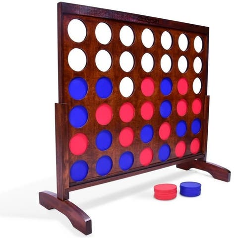 GoSports Giant Dark Wood Stain Four in a Row Backyard Game 4 Foot Width with Connect Coins, Portable Case and Rules