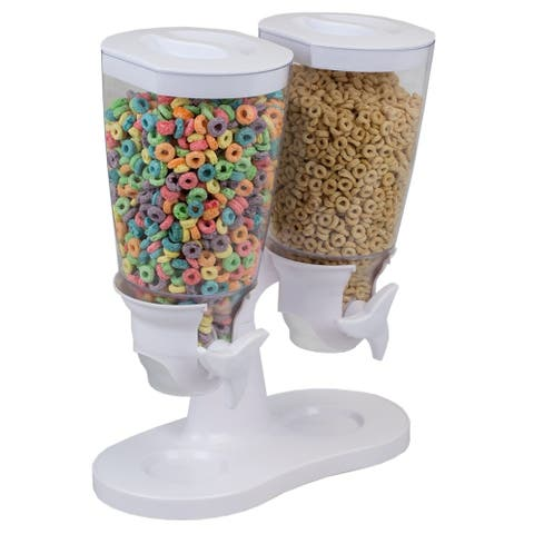 Double Cereal Dispenser, White